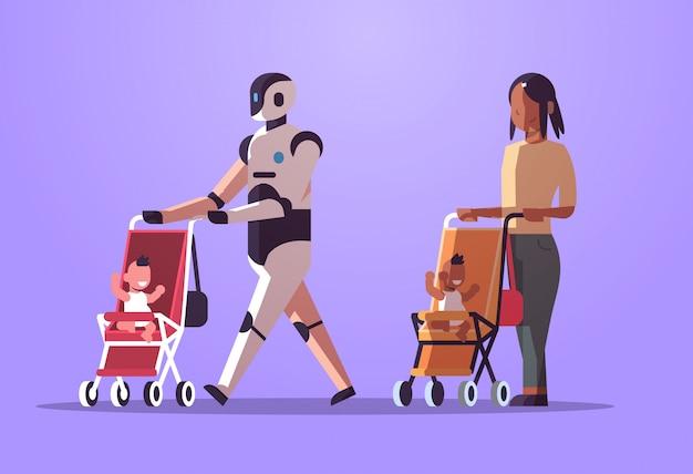 Робот няня и мать или няня ходят с ребенком в коляске робот против человека, стоя вместе вместе технология искусственного интеллекта плоская полная длина горизонтальный Premium векторы