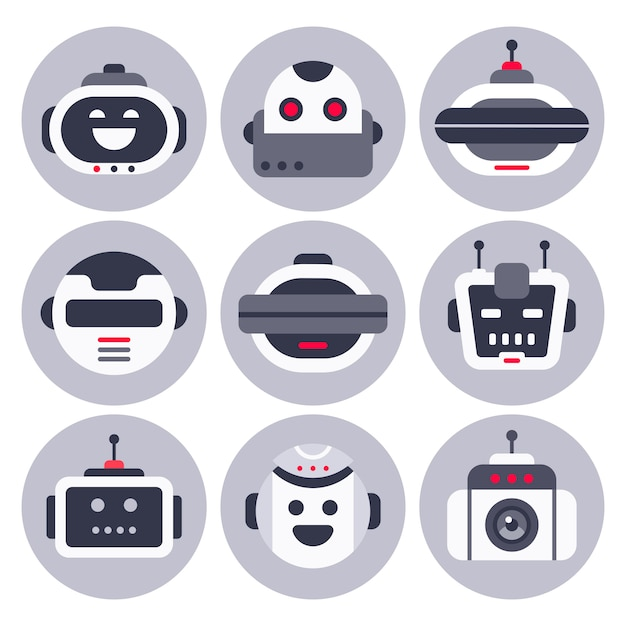 Robotic chatbot avatar, computer chat help bot robots and virtual assistant digital chatting bots isolated Premium Vector
