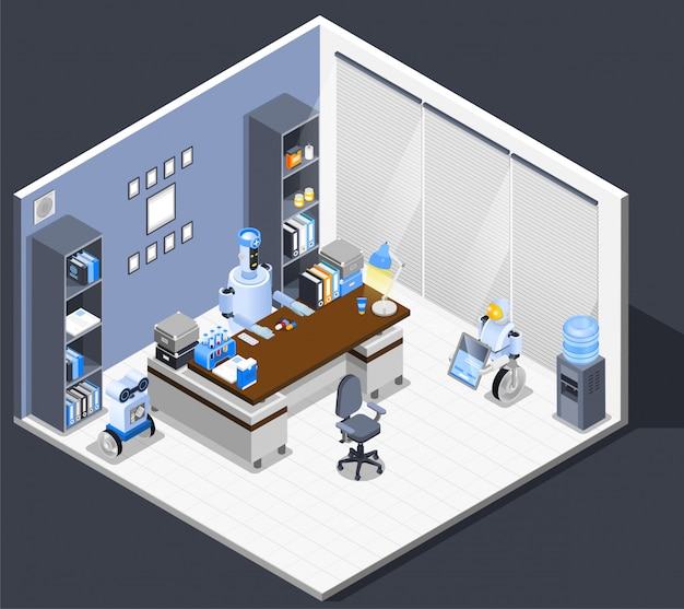 Robotic chief executive composition Free Vector