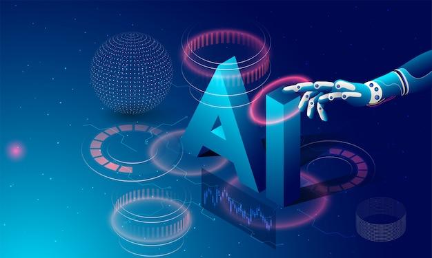 Robotic hand clicking, isometric text ai. Premium Vector