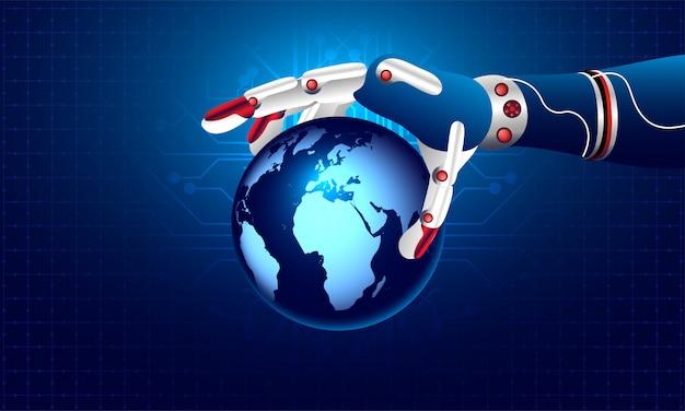 Robotic hand holding earth globe. Premium Vector