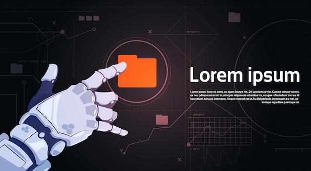 Robotic hand touch file folder button on digital screen banner Premium Vector