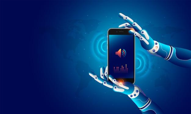 Robotic hands holding a mobile. Premium Vector