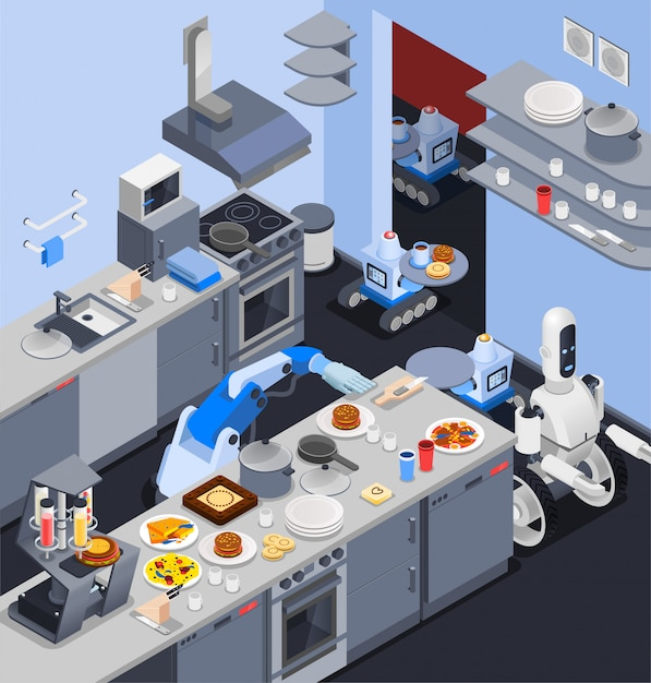 Robotic kitchen maid composition Free Vector