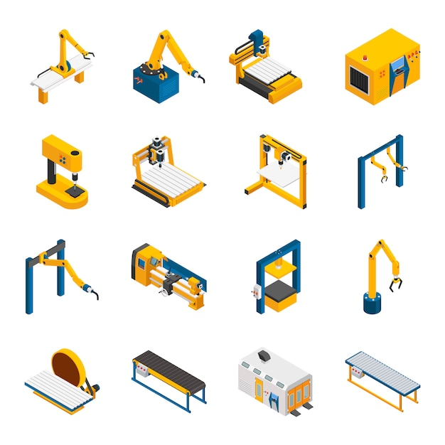 Robotic machinery icons set Free Vector