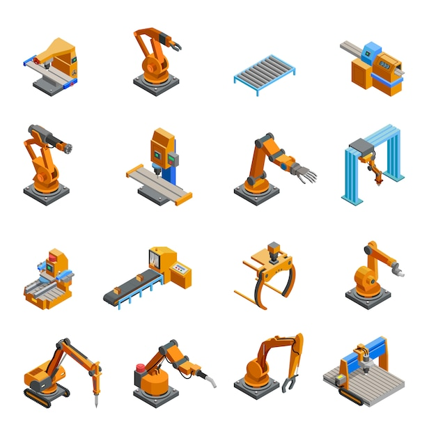Robotic mechanical arm isometric icons set Free Vector