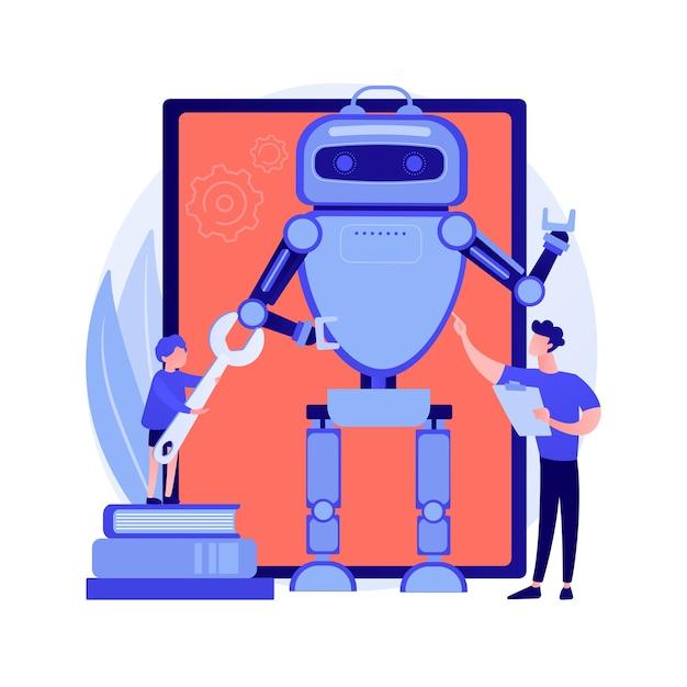 Mano meccanica robotica. braccio cibernetico di ingegneria. macchina elettronica, sistema di controllo, tecnologia industriale. tecnico con la costruzione. illustrazione della metafora del concetto isolato di vettore. Vettore gratuito