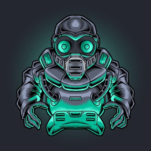 Robotic ninja gamer with joystick illustration Premium Vector