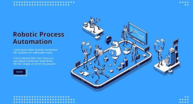 Banner di automazione dei processi robotici. tecnologie di innovazione dell'intelligenza artificiale nel lavoro aziendale. pagina di destinazione con illustrazione isometrica dei robot che lavorano in ufficio Vettore gratuito