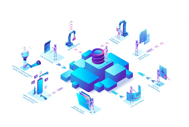 Robotic process automation concept with robots working with data, arms moving files, extracting information from websites, digital technology service, 3d isometric vector illustration Premium Vector