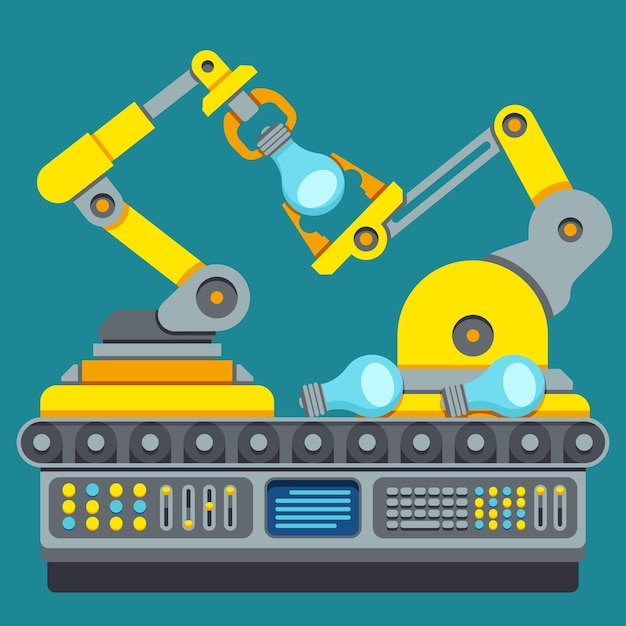 ロボット生産ライン Premiumベクター