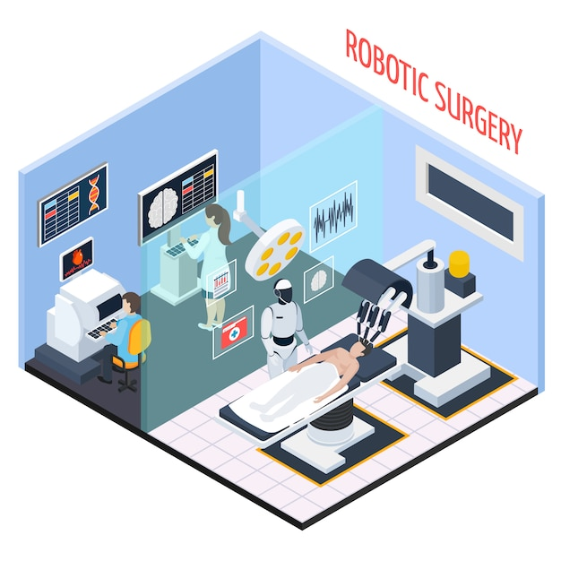 Robotic surgery isometric composition Free Vector