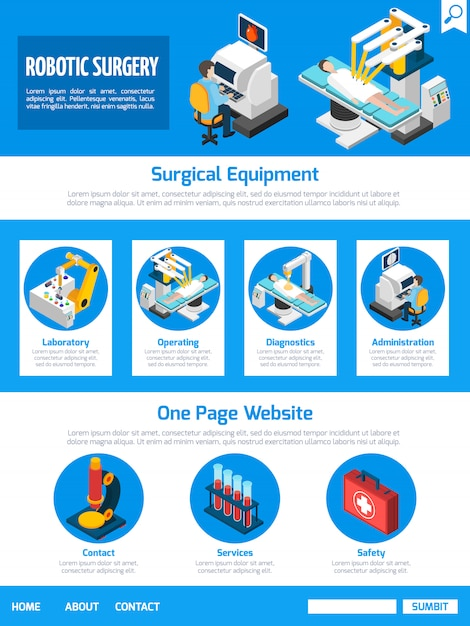 Robotic surgery isometric one page desing Free Vector