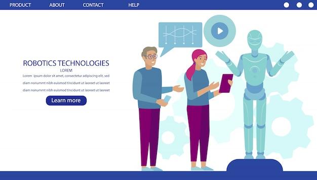 ロボット技術開発のランディングページ Premiumベクター