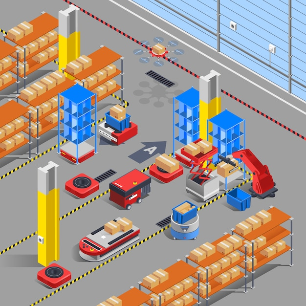 Robotic warehouse isometric background Free Vector
