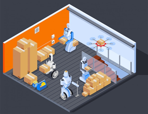 Robotic warehouse workers composition Free Vector