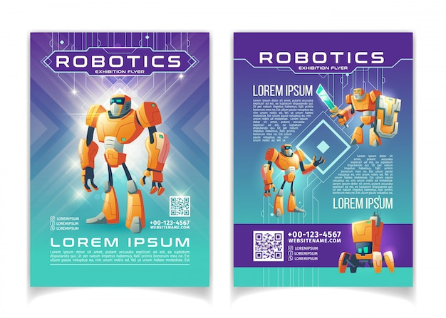 Robotics and artificial intelligence technologies exhibition advertising flyer cartoon pages template. Free Vector