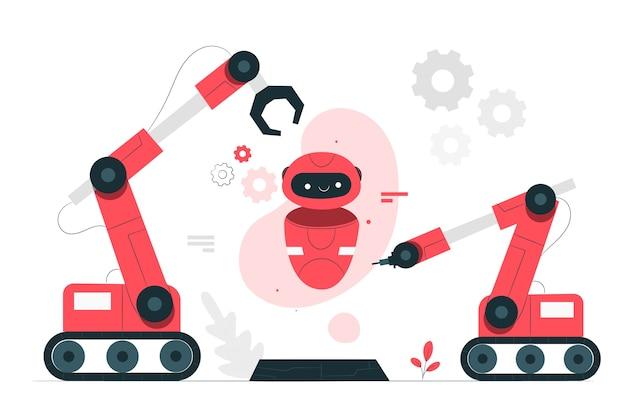 Illustrazione di concetto di robotica Vettore gratuito