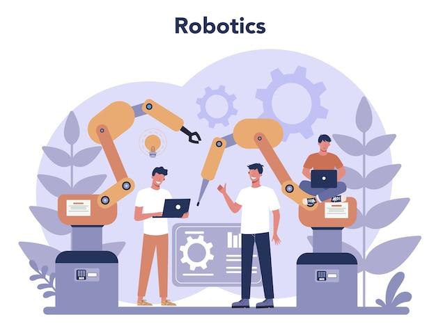 로봇 공학 개념. 로봇 공학 및 프로그래밍. 인공 지능과 미래 기술에 대한 아이디어. 기계 자동화. 프리미엄 벡터