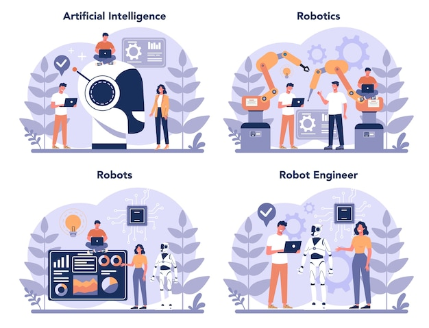 로봇 공학 개념을 설정합니다. 로봇 공학 및 프로그래밍. 인공 지능과 미래 기술에 대한 아이디어. 기계 자동화. 만화 스타일에 고립 된 벡터 일러스트 레이 션 프리미엄 벡터