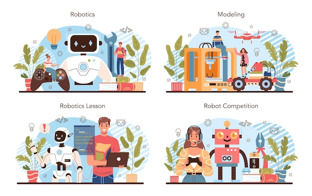 Robotics school course concept set robotic engineering and constructing lesson