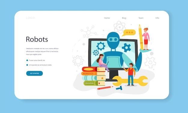 Robotics school subject web banner or landing page. robot engineering and programming. idea of arti