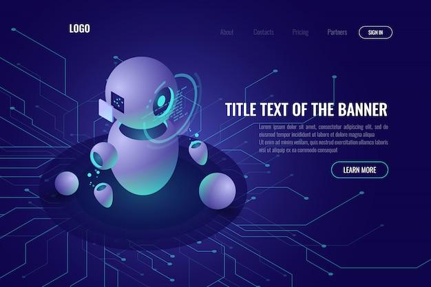 ロボット工学技術、機械教育および人工知能aiアイソメトリックアイコン 無料ベクター