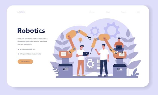 로보틱스 웹 랜딩 페이지. 로봇 공학 및 프로그래밍. 인공 지능과 미래 기술에 대한 아이디어. 기계 자동화. 만화 스타일에 고립 된 벡터 일러스트 레이 션 프리미엄 벡터