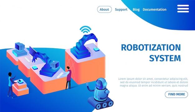 Robotization system banner. future technologies. Premium Vector