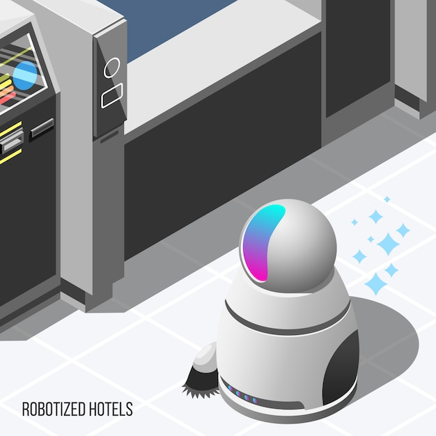 Fondo isometrico degli hotel robotizzati Vettore gratuito