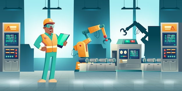 Robotized industrial production cartoon concept. robotic hands working on modern factory or plant conveyor Free Vector