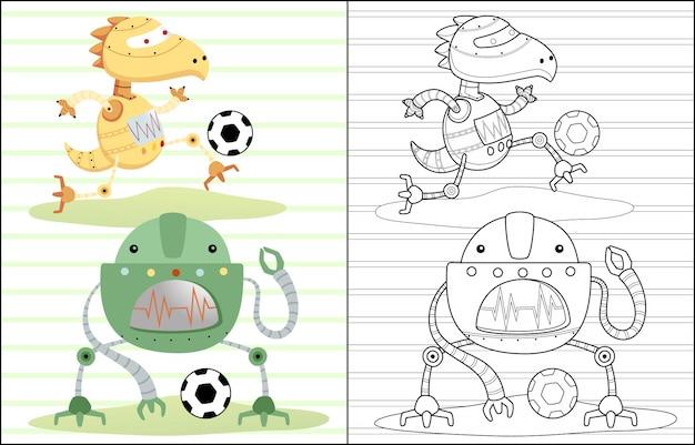 Robots cartoon playing soccer Premium Vector