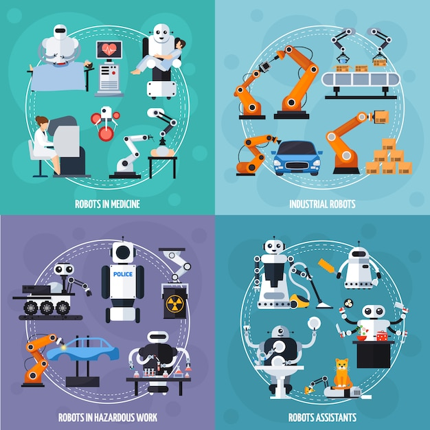 Robots concept icons set Free Vector