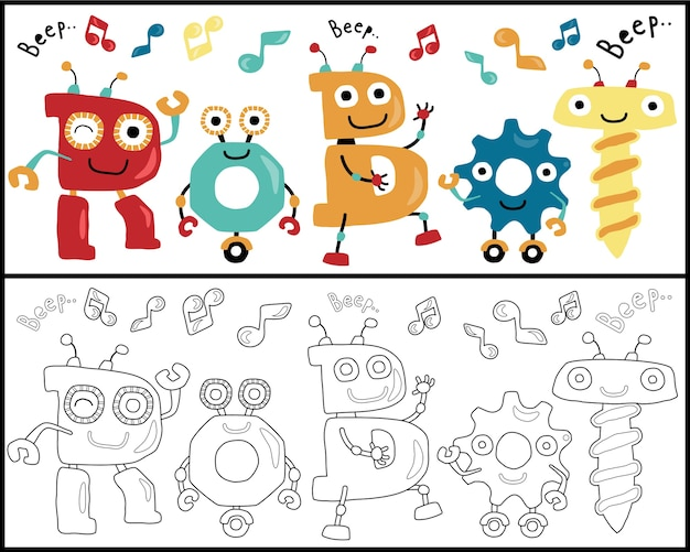 Robots Dance Cartoon Coloring Book Or Page Premium Vector