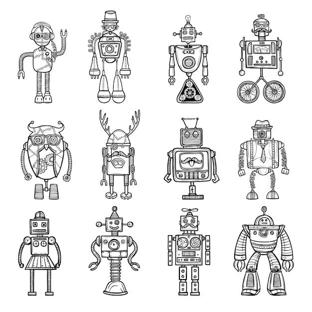 Robots doodle stile black icons set Free Vector