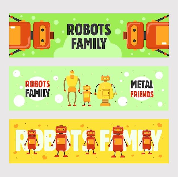 ロボットファミリーバナーセット。ヒューマノイド、サイボーグ、電子機器は、緑と黄色の背景にテキストでイラストをベクトルします。チラシやパンフレットのデザインのためのロボット工学の概念 無料ベクター