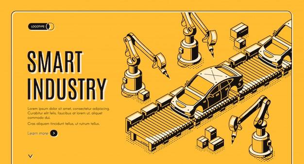 Robots hands assemble car on conveyor belt process banner Free Vector