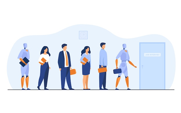 Robots and human candidates waiting in line for job interview. businessmen and businesswomen competing with machines for hiring. vector illustration for employment, business, recruitment concept Free Vector