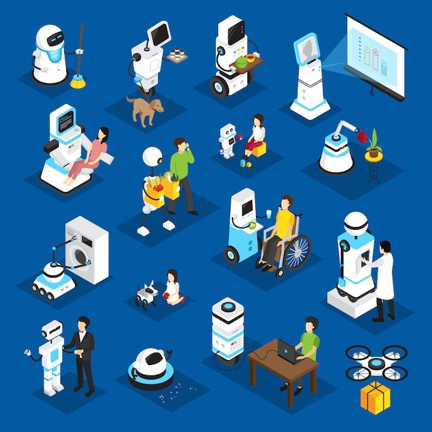 Robots isometric set Free Vector
