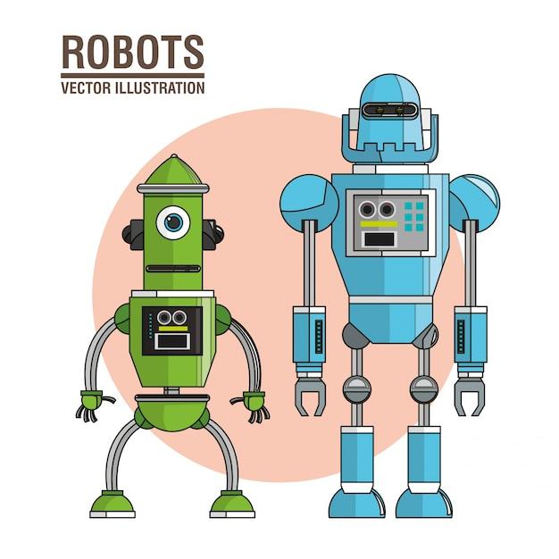 ロボット機械技術イメージ Premiumベクター