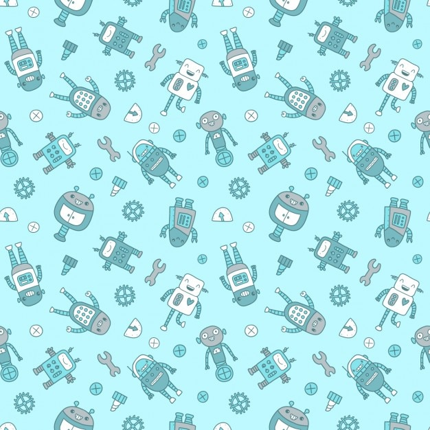 Robots pattern design Free Vector
