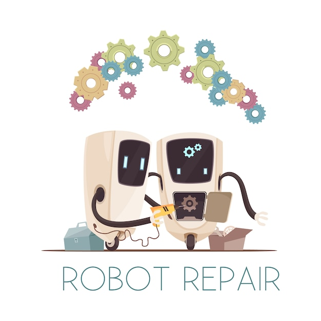 Robots repair cartoon composition Free Vector