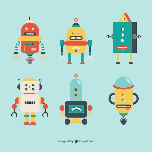 robots retro style vector free download