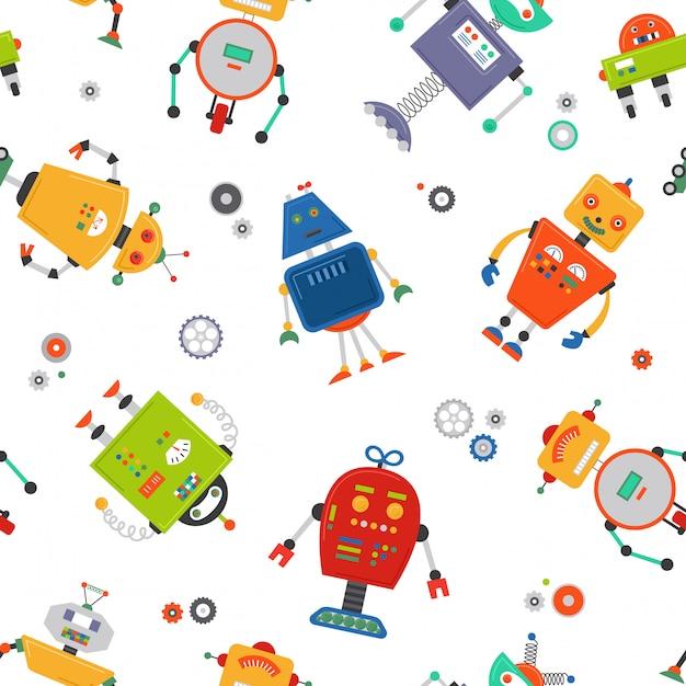 Robots seamless pattern Premium Vector