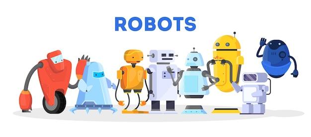 Набор роботов. группа футуристического персонажа различной формы Premium векторы
