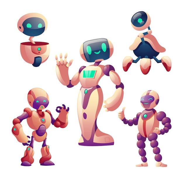 Набор роботов, человекоподобных киборгов с лицом, телом, руками Бесплатные векторы