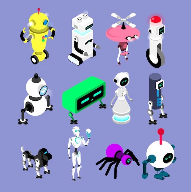 ロボットはアイソメ図スタイルで設定します。ロボットとアンドロイドのコレクション孤立した機械のイラスト。 Premiumベクター