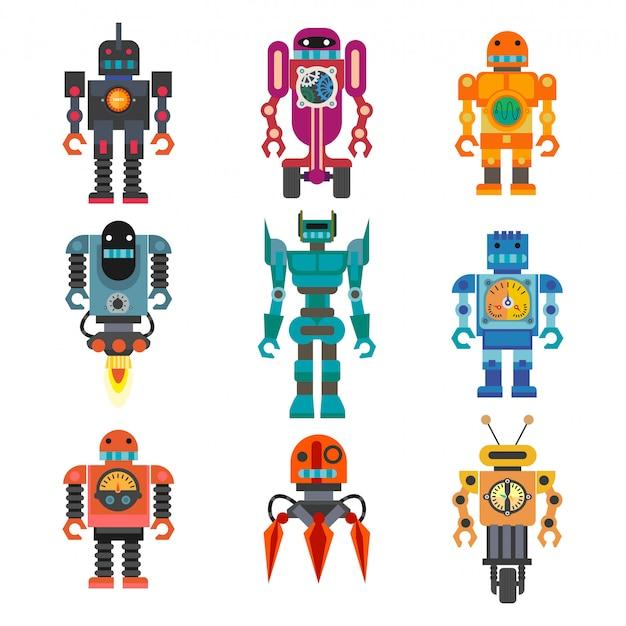 Robots and transformers retro cartoon toys flat icons set Premium Vector