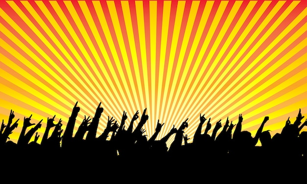 Rock audience silhouette Free Vector
