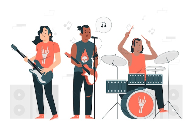 Rock band concept illustration Free Vector